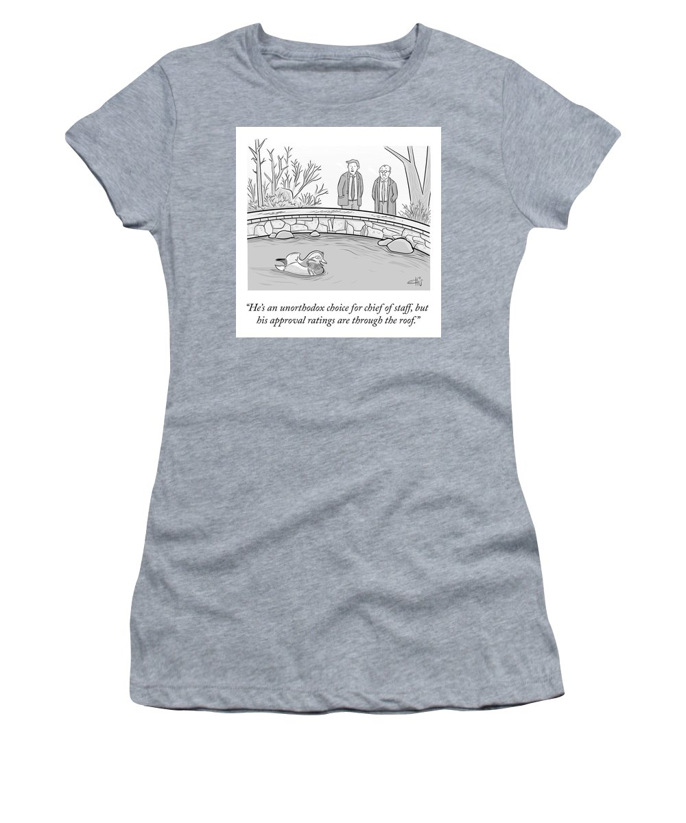 He's An Unorthodox Choice For Chief Of Staff Women's T-Shirt featuring the drawing An Unorthodox Choice by Ellis Rosen
