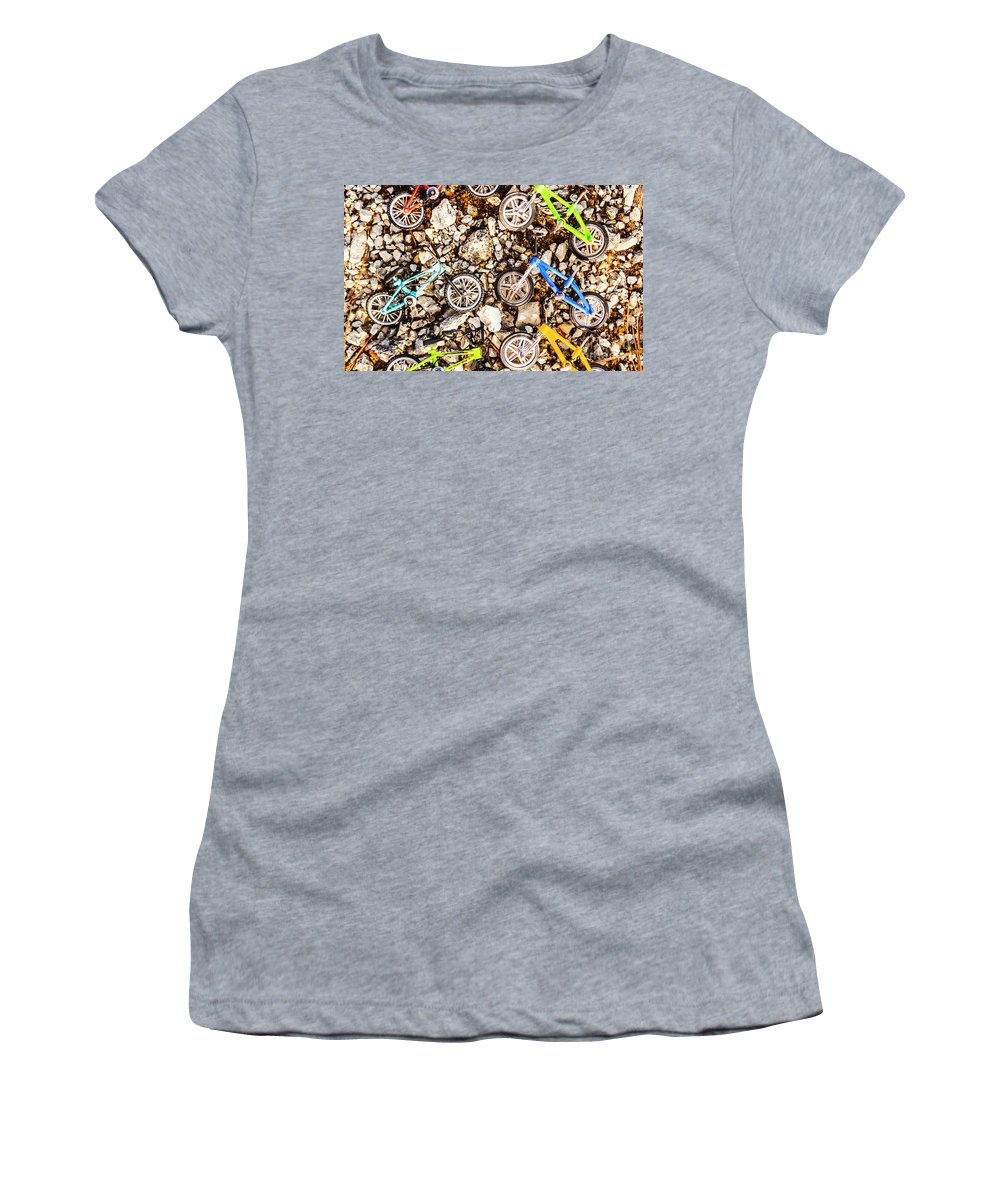 Toy Women's T-Shirt featuring the photograph Bmx Pebble Race by Jorgo Photography - Wall Art Gallery