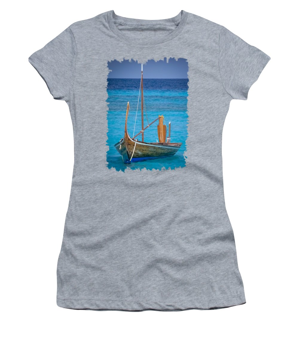 Boat Women's T-Shirt featuring the digital art Boat In The Blue by Eric Nagel
