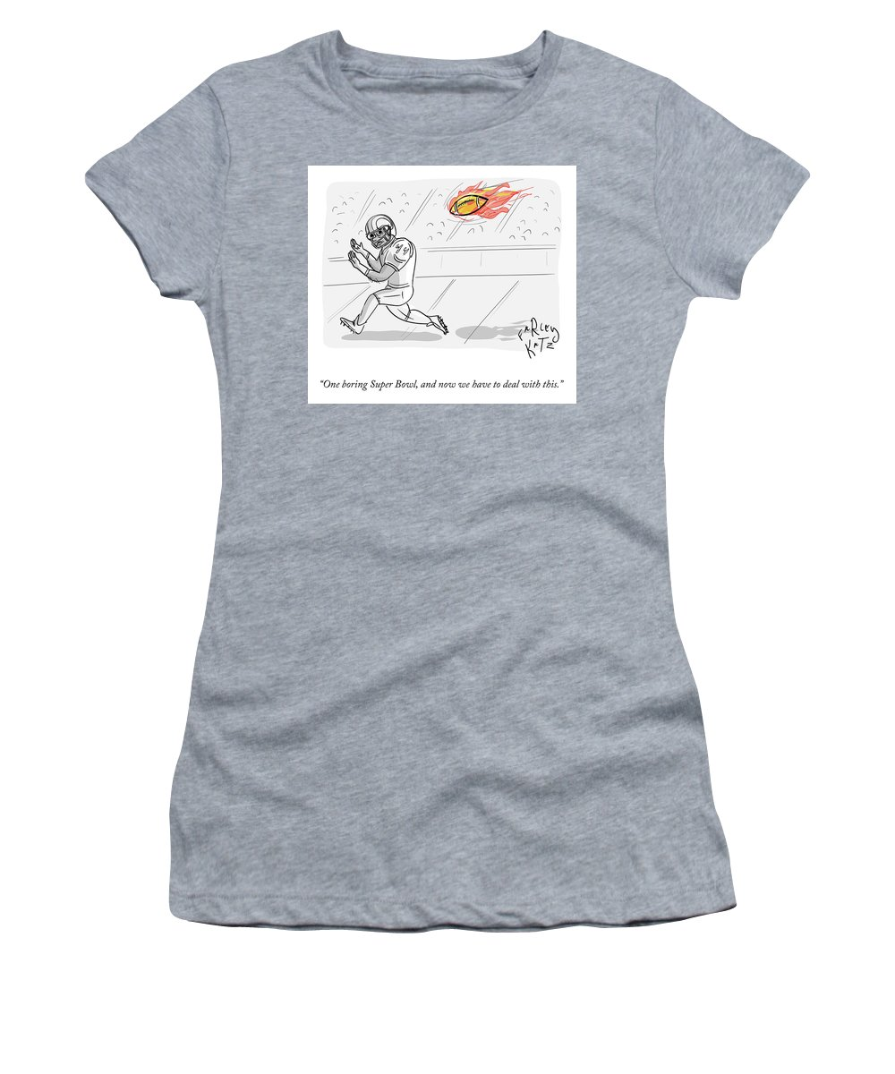 One Boring Super Bowl Women's T-Shirt featuring the drawing Boring Superbowl by Farley Katz