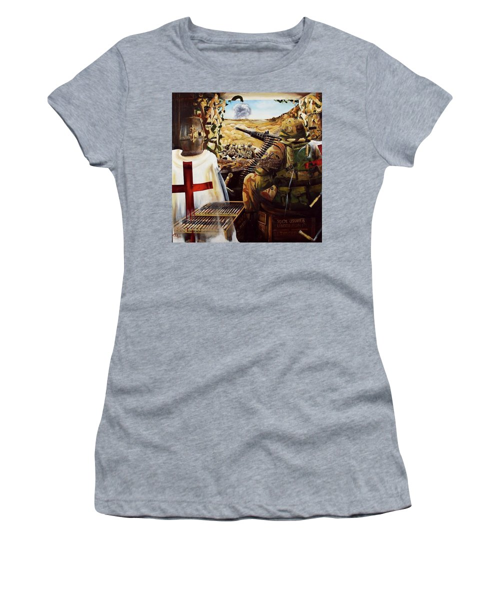Afganistan Women's T-Shirt (Athletic Fit) featuring the painting British Crusader by John Palliser