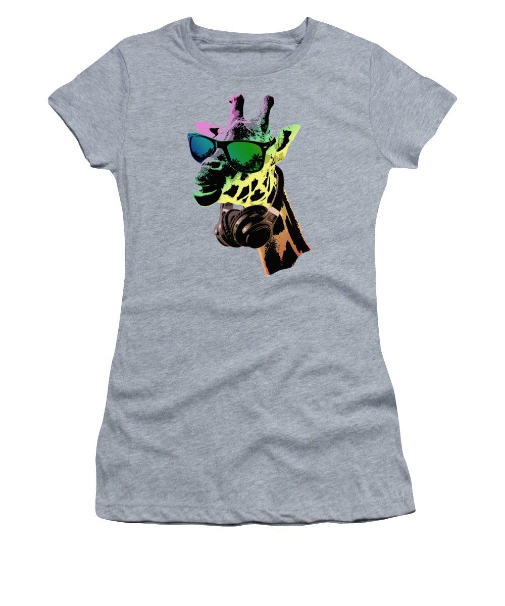 Giraffe Women's T-Shirt featuring the digital art Cool Giraffe by Filip Schpindel