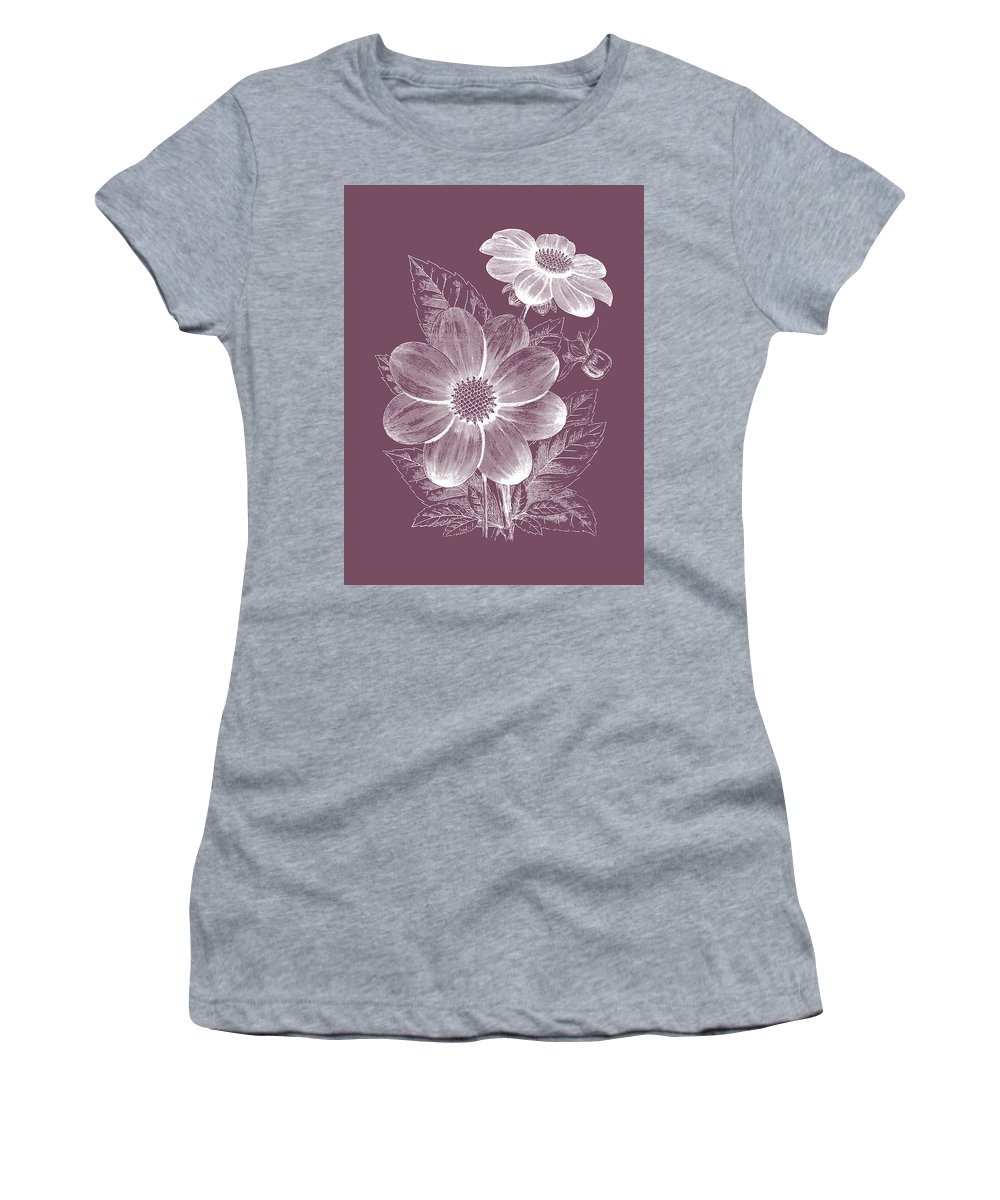 Flower Women's T-Shirt featuring the mixed media Dahlias Purple Flower by Naxart Studio