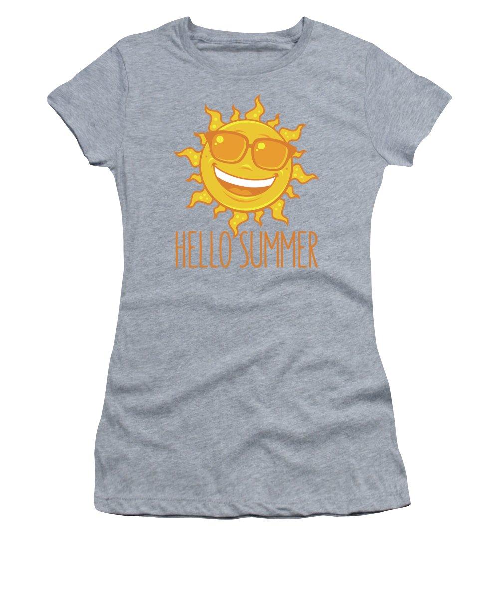 Beach Women's T-Shirt featuring the digital art Hello Summer Sun With Sunglasses by John Schwegel