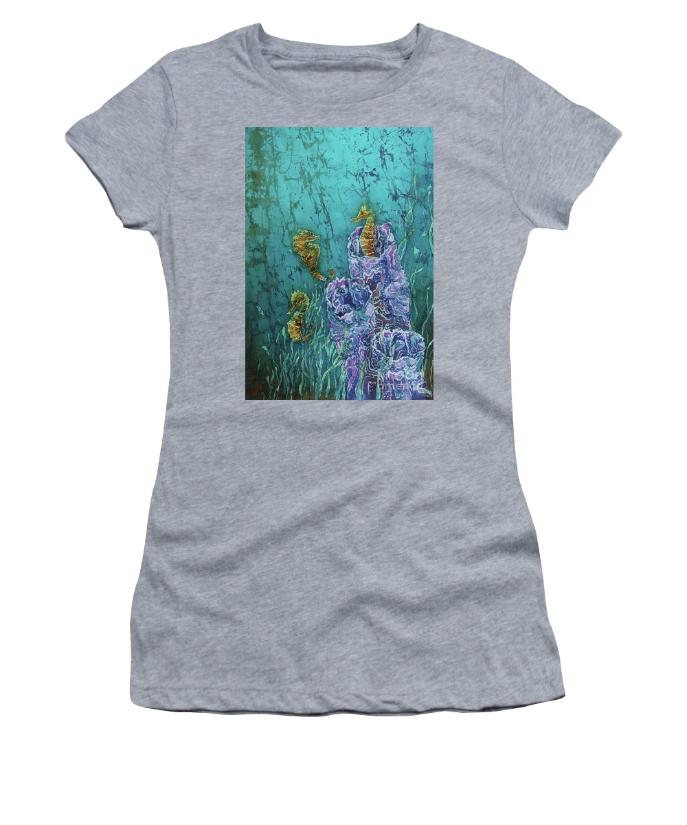 Seahorses Women's T-Shirt featuring the tapestry - textile Horsin Around by Sue Duda