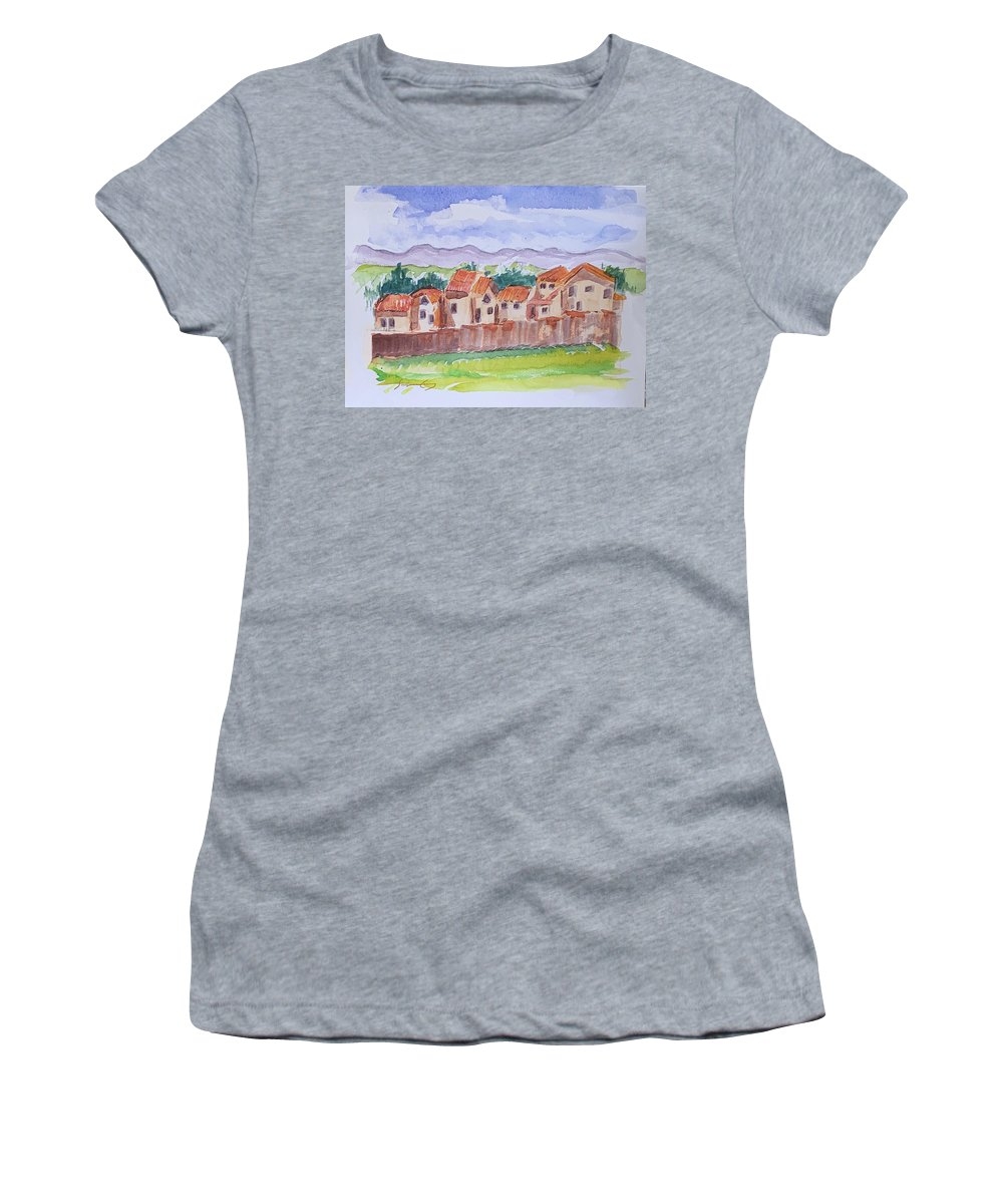 Houses Women's T-Shirt featuring the painting Laguna Del Sol Cuenca Ecuador by Suzanne Cerny