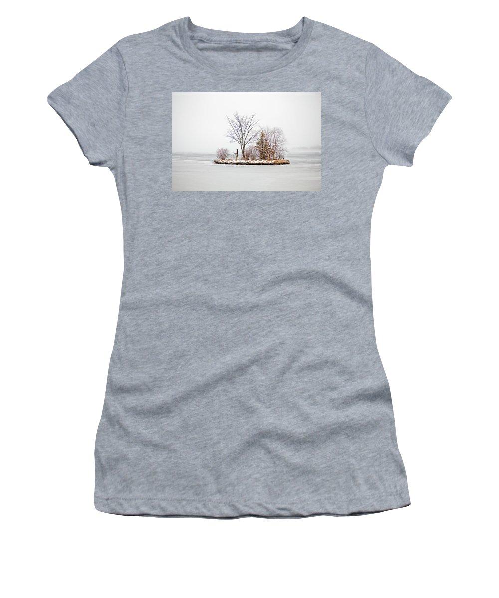 Lake Winnipesaukee Women's T-Shirt featuring the photograph Lake Winnipesaukee Indian Island Meredith New Hampshire by Trevor Slauenwhite