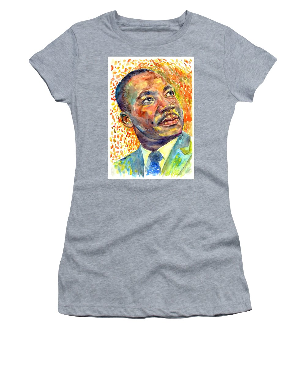 Martin Luther King Jr Women's T-Shirt featuring the painting Martin Luther King Jr Portrait by Suzann Sines