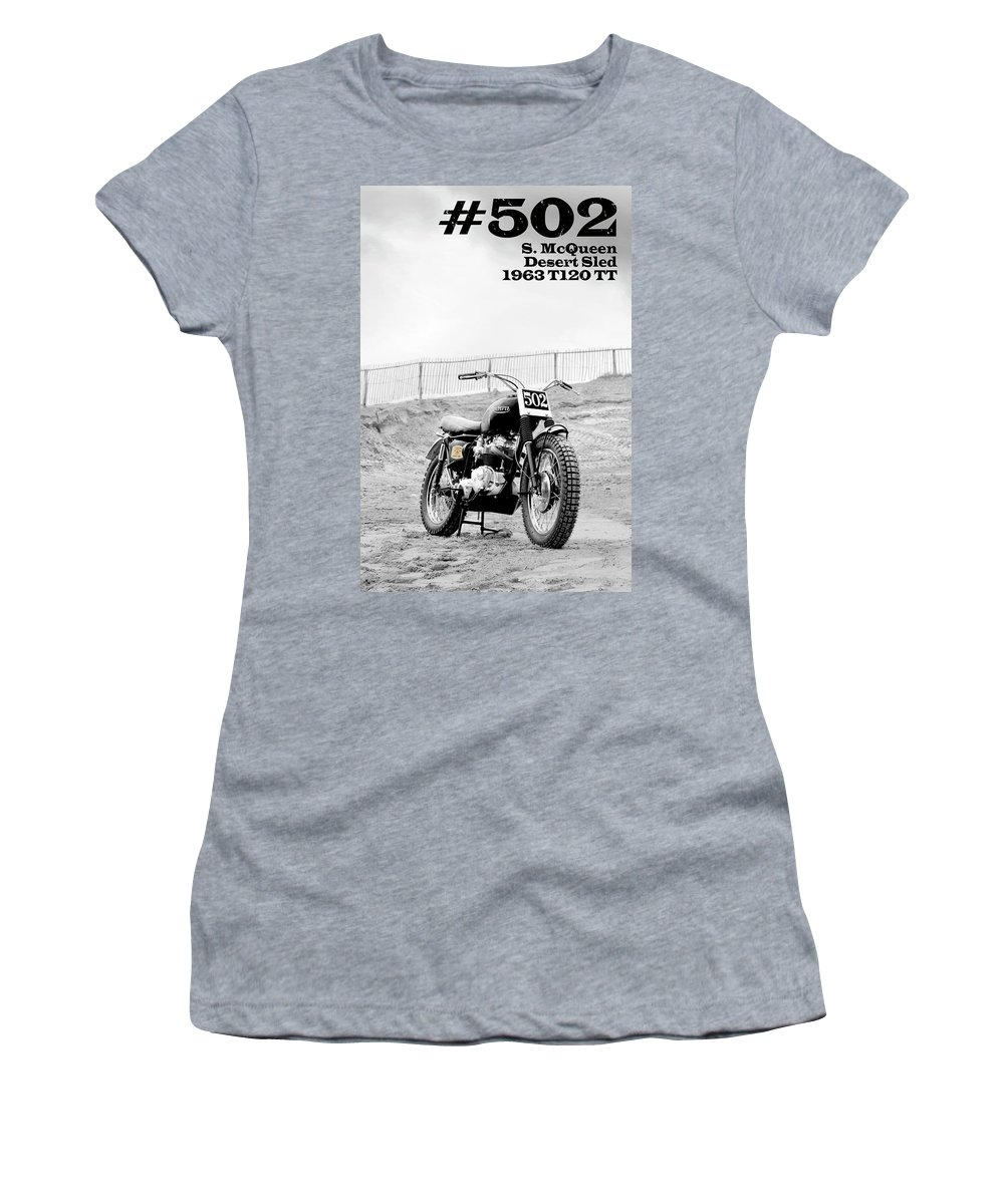 Steve Mcqueen Women's T-Shirt featuring the photograph No 502 Mcqueen Desert Sled by Mark Rogan