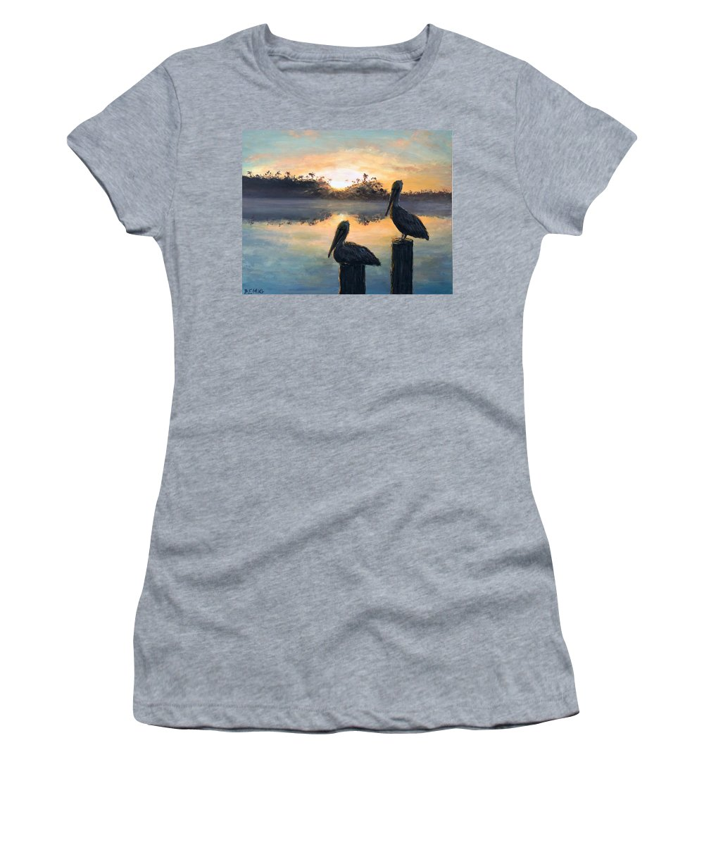 Pelican Women's T-Shirt featuring the painting Pelican Sunrise by Paul Emig