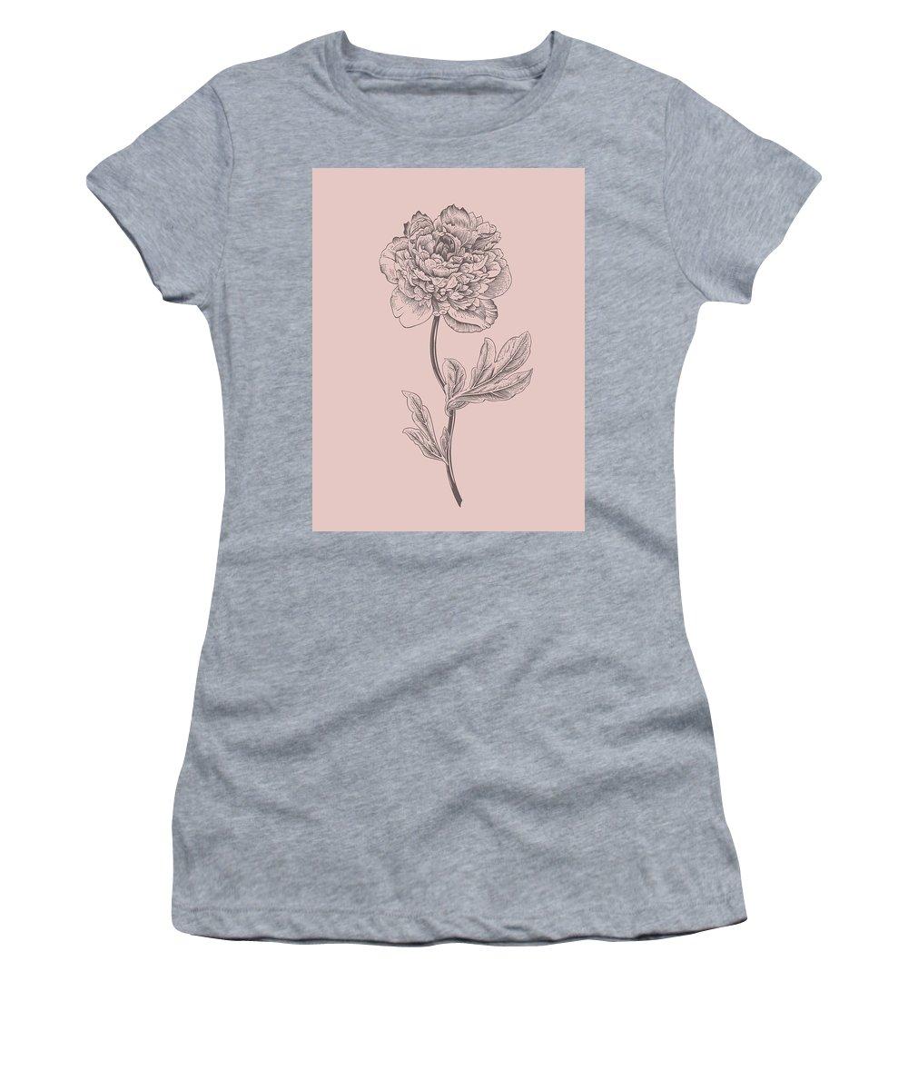 Peony Women's T-Shirt featuring the mixed media Peony Blush Pink Flower by Naxart Studio