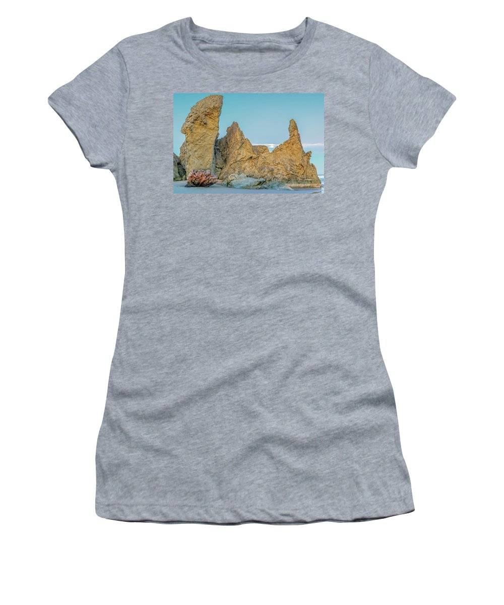 Bandon Beach Women's T-Shirt featuring the photograph Petrified Tree Root Ball by Jim Thompson