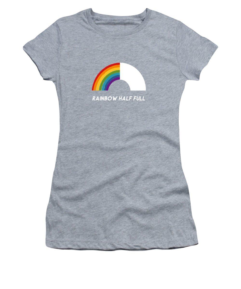 Rainbow Women's T-Shirt featuring the mixed media Rainbow Half Full- Art by Linda Woods by Linda Woods