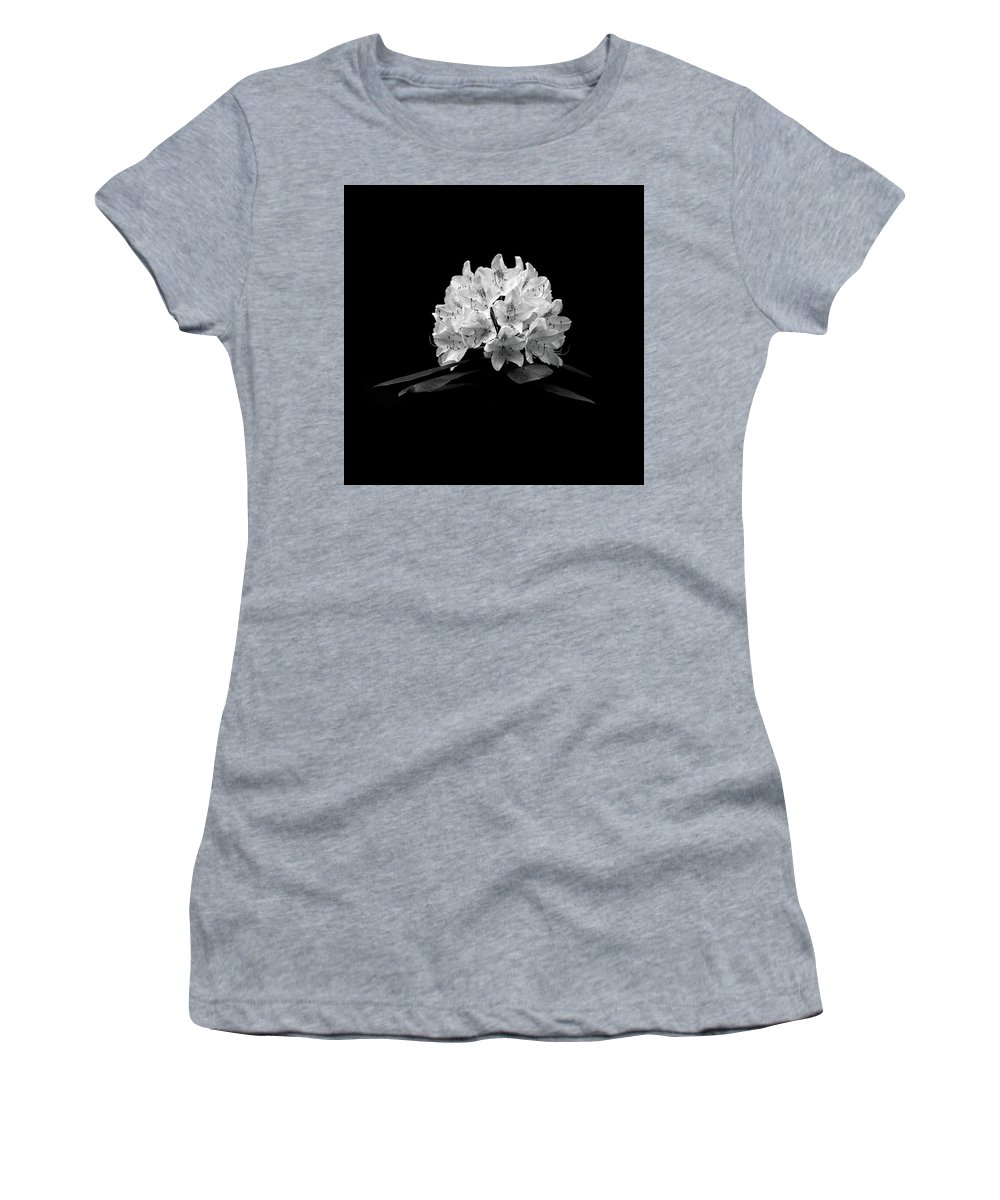 Black And White Flower Photography Women's T-Shirt featuring the photograph Rhododendron by Trevor Slauenwhite