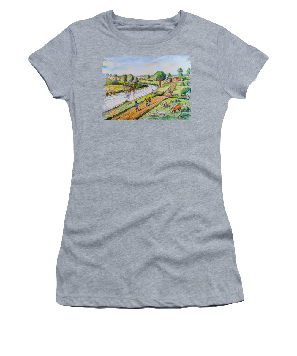 Kenya Art Women's T-Shirt featuring the painting River Road by Anthony Mwangi