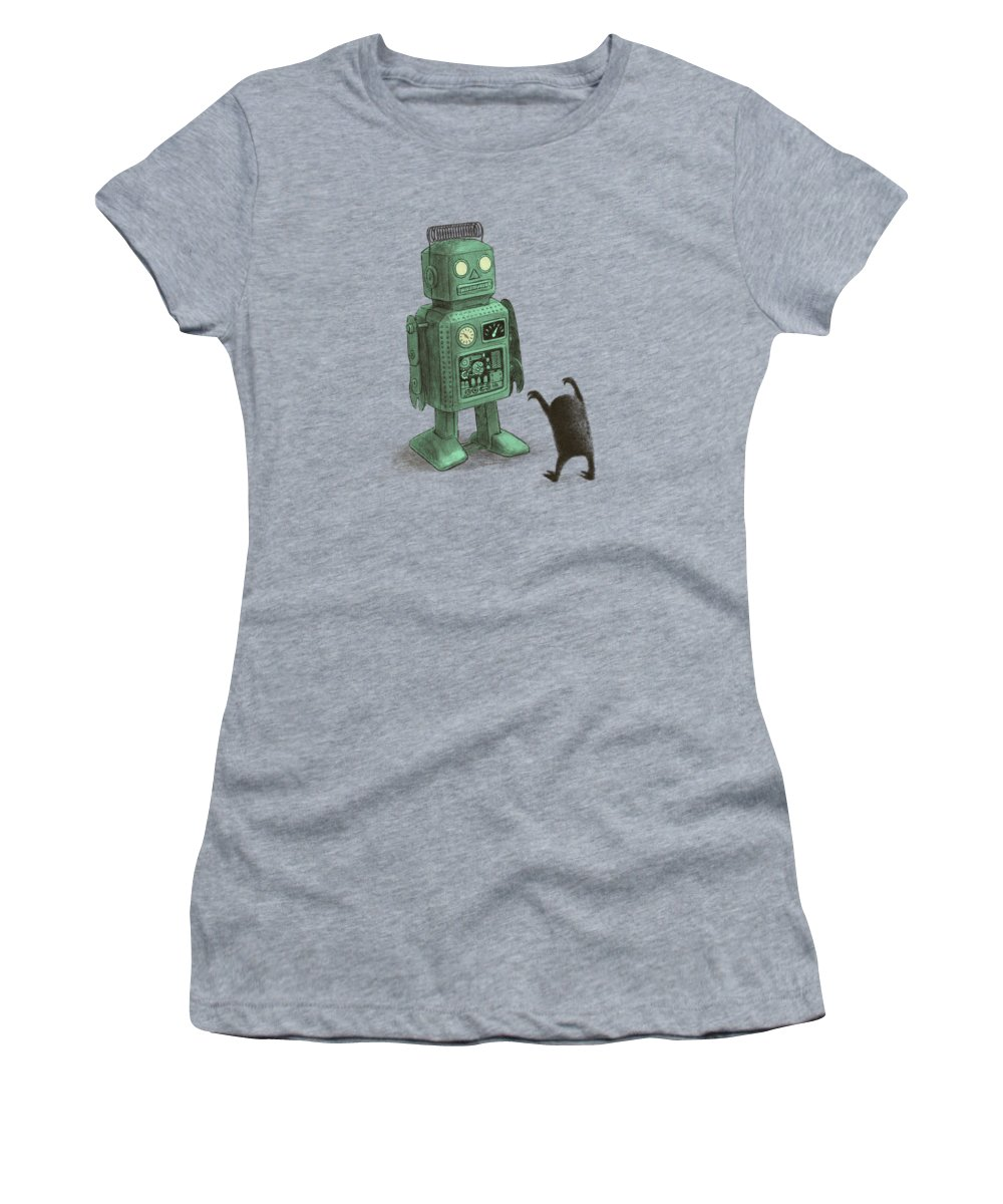 Vintage Women's T-Shirt featuring the drawing Robot Vs Alien by Eric Fan