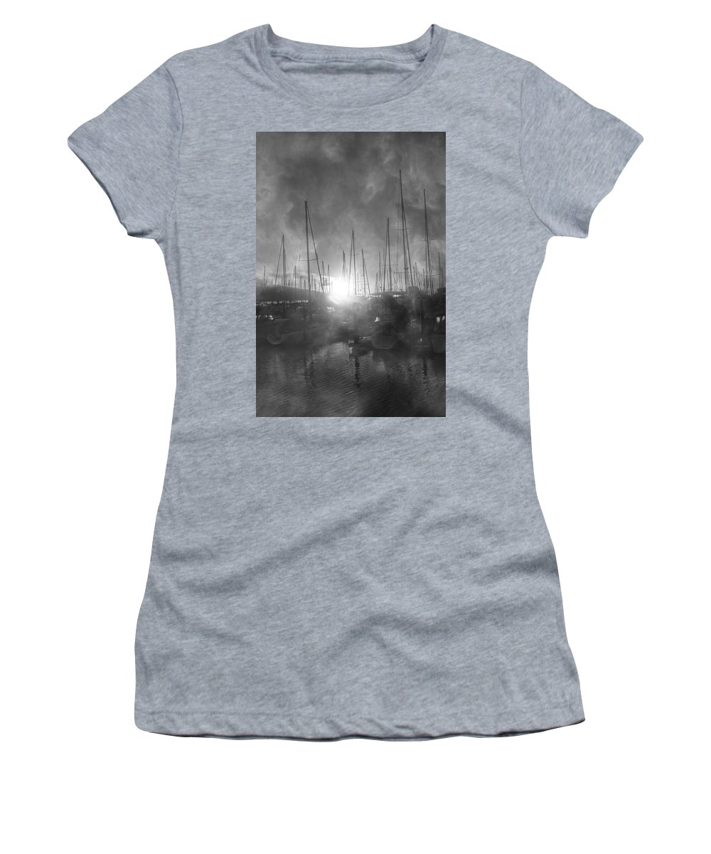 Sausalito Women's T-Shirt featuring the photograph Sausalito California Mystical Magical Harbor Sunrise by Betsy Knapp