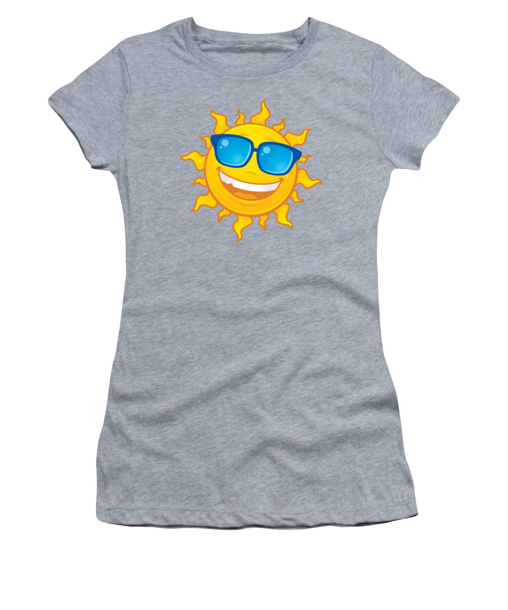 Weather Women's T-Shirt featuring the digital art Summer Sun Wearing Sunglasses by John Schwegel