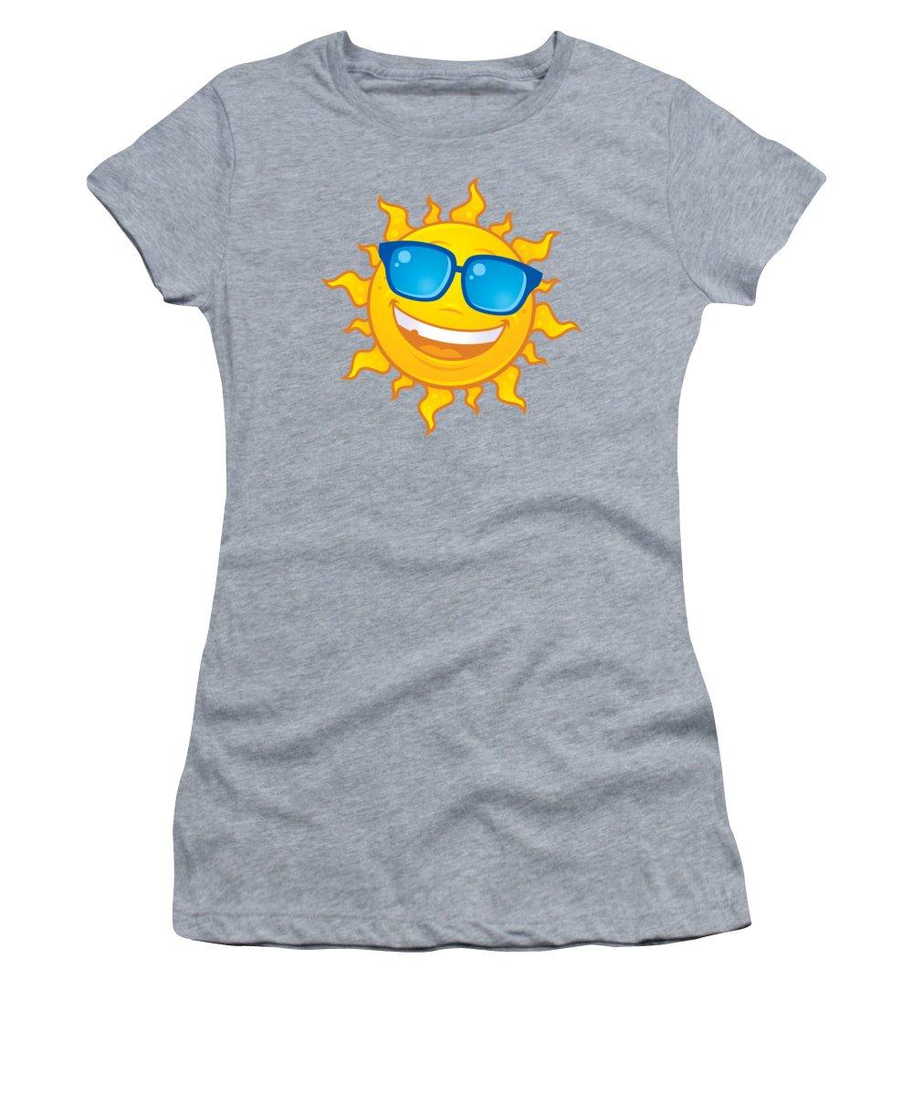 Weather Women's T-Shirt featuring the digital art Summer Sun Wearing Sunglasses by John Schwegel