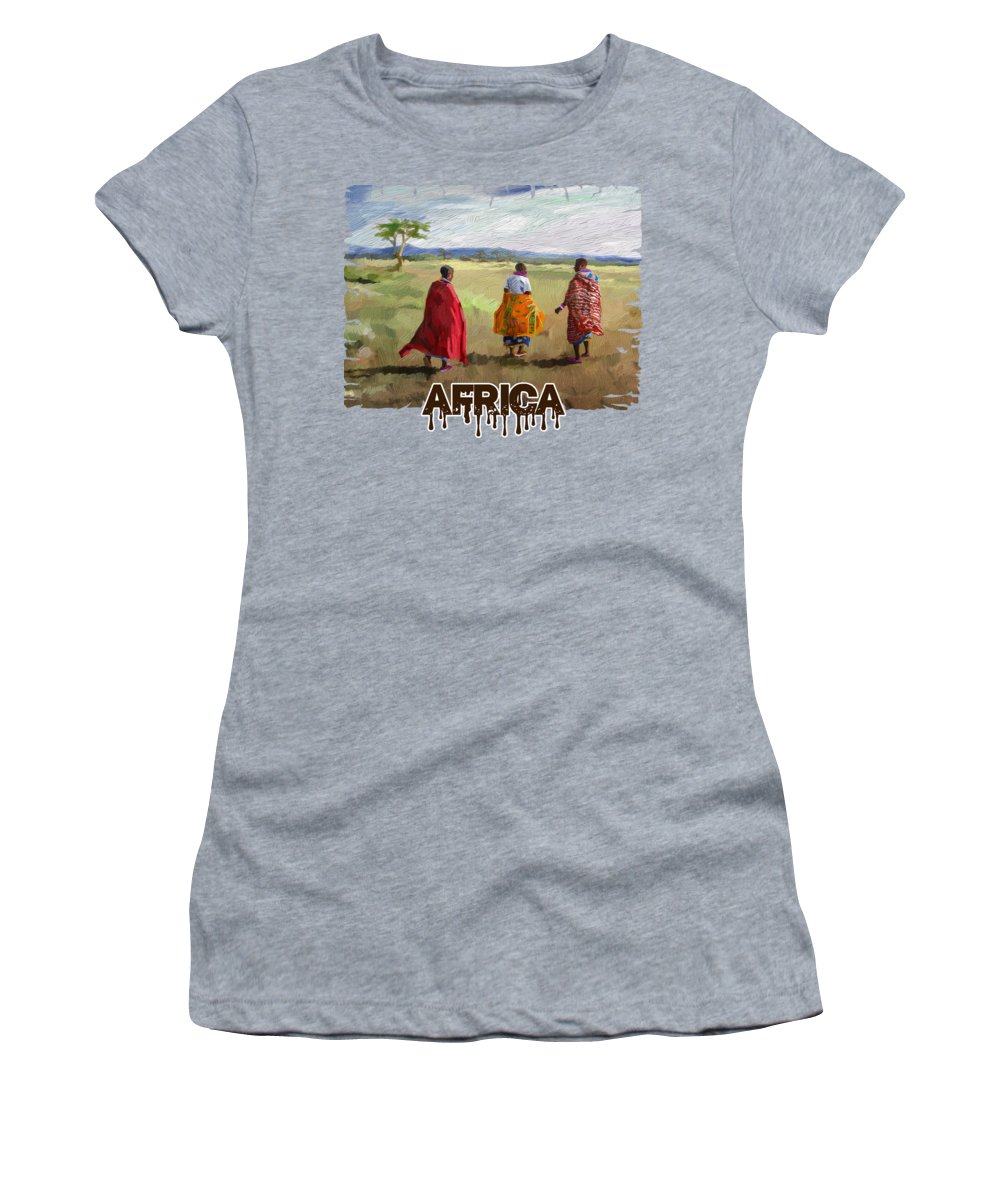 Print Women's T-Shirt featuring the painting The Long Walk by Anthony Mwangi