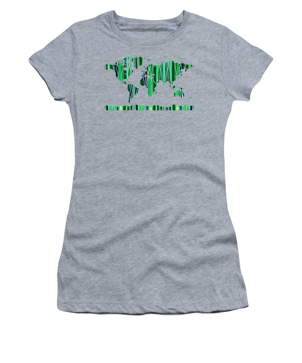 Green Women's T-Shirt featuring the painting Watercolor Silhouette World Map Colorful Png Xxviii by Irina Sztukowski