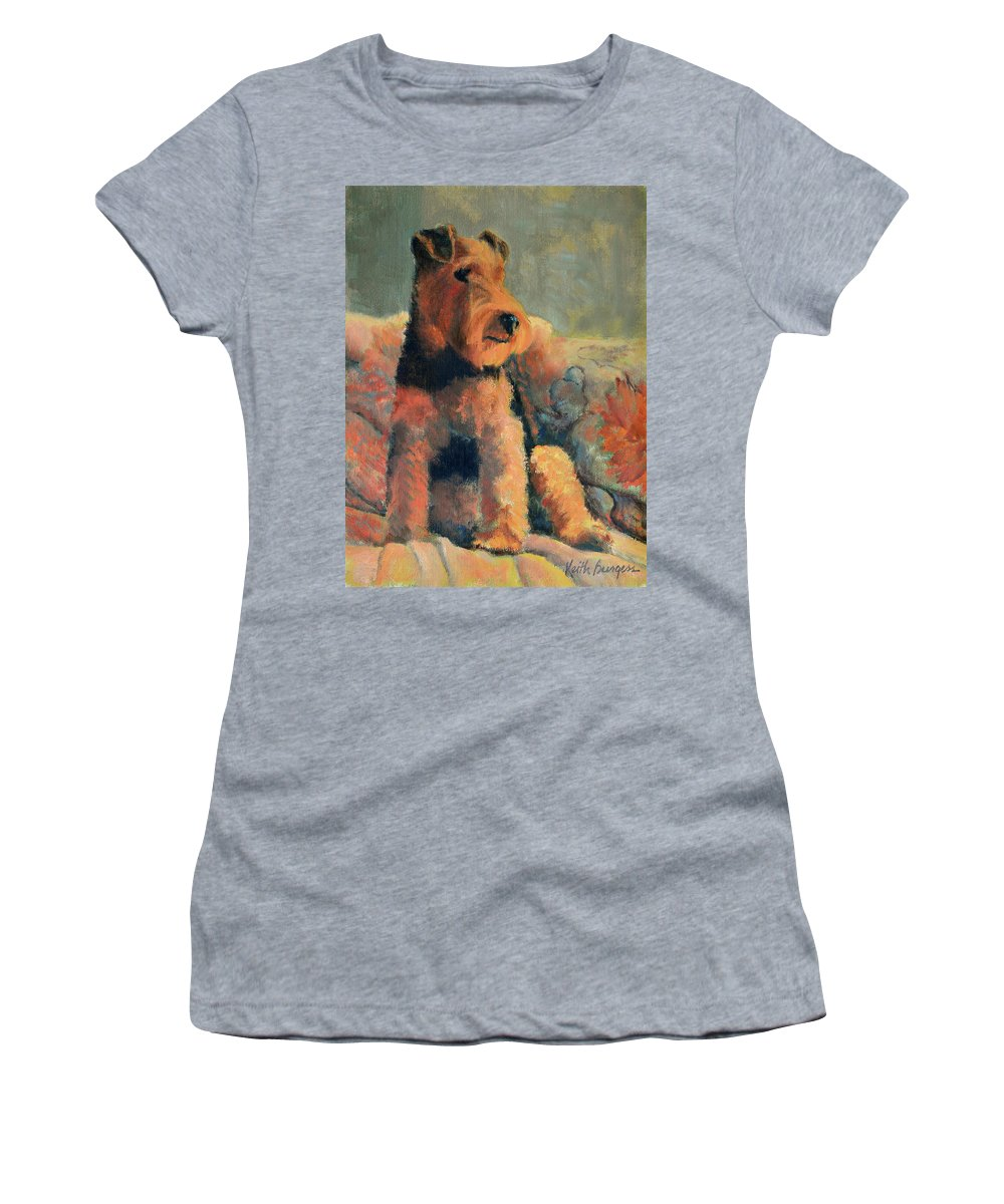 Pet Women's T-Shirt featuring the painting Zuzu by Keith Burgess