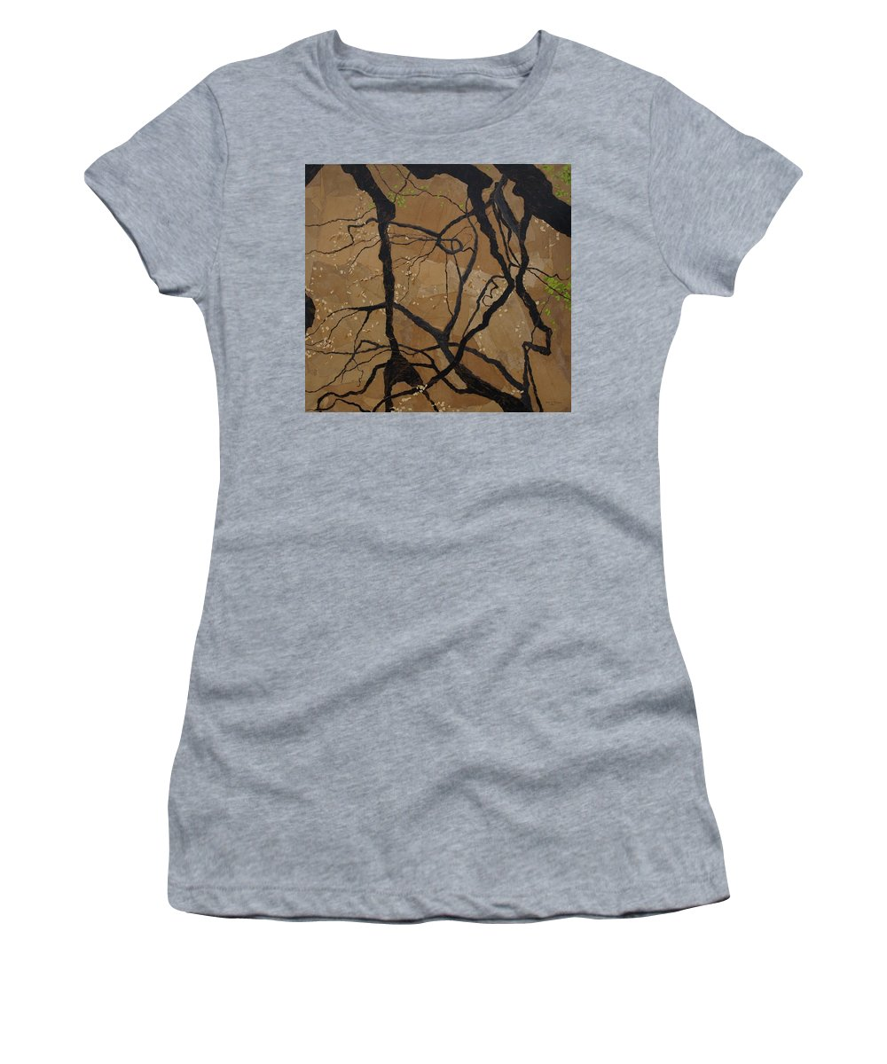 Abstract Tree Branches Women's T-Shirt featuring the painting Arboretum Dancers by Leah Tomaino