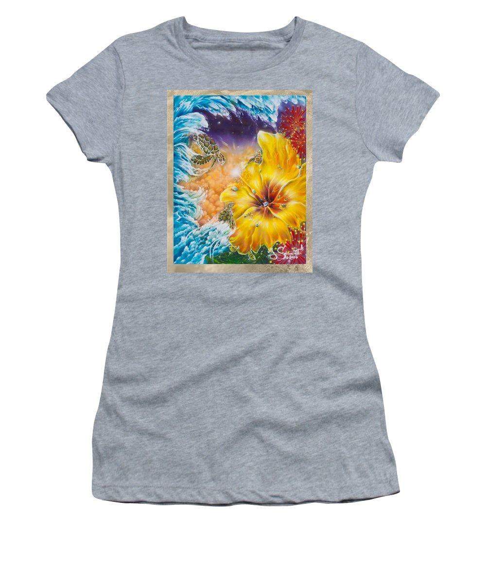 Aloha! Honu Hawaii Art Hibiscus Coral Reefs Flowers Floral Reefs Women's T-Shirt featuring the painting Wave of the Honu by Joel Salinas III