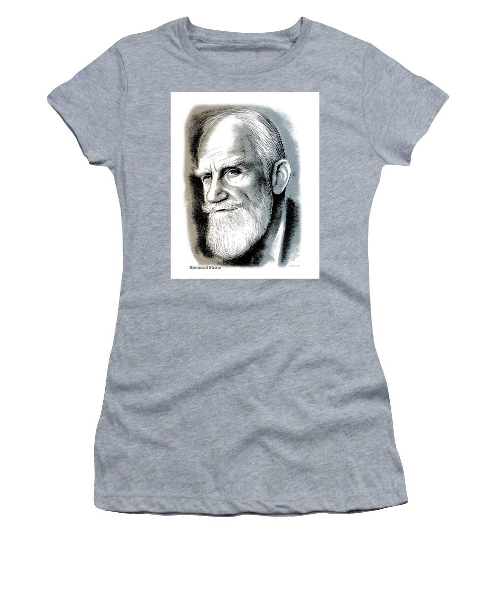 Bernard Shaw Women's T-Shirt featuring the mixed media Bernard Shaw - Mixed Media by Greg Joens