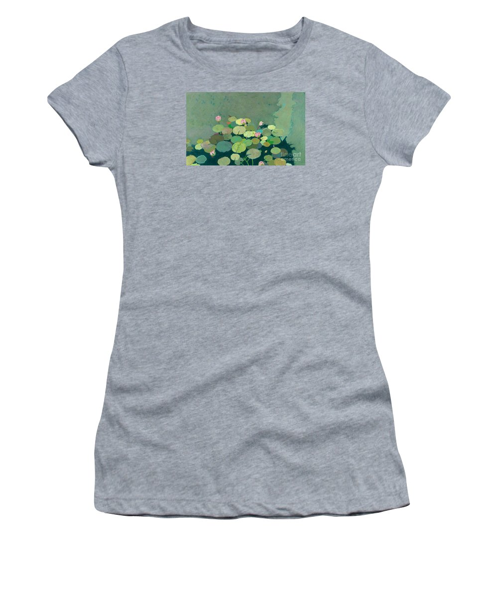 Landscape Women's T-Shirt featuring the painting Bettys Serenity Pond by Allan P Friedlander