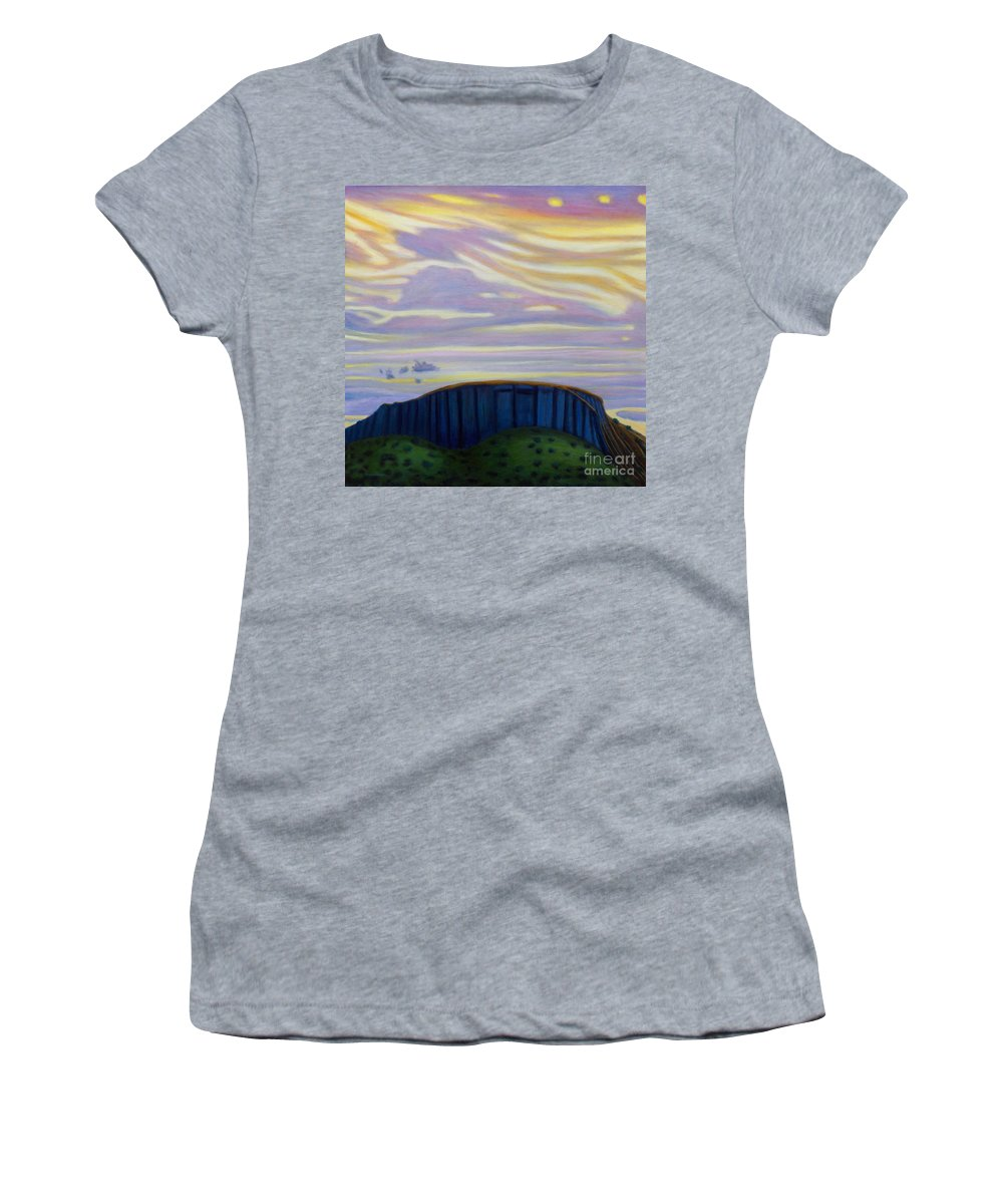 Black Mesa Women's T-Shirt featuring the painting Black Mesa by Brian Commerford