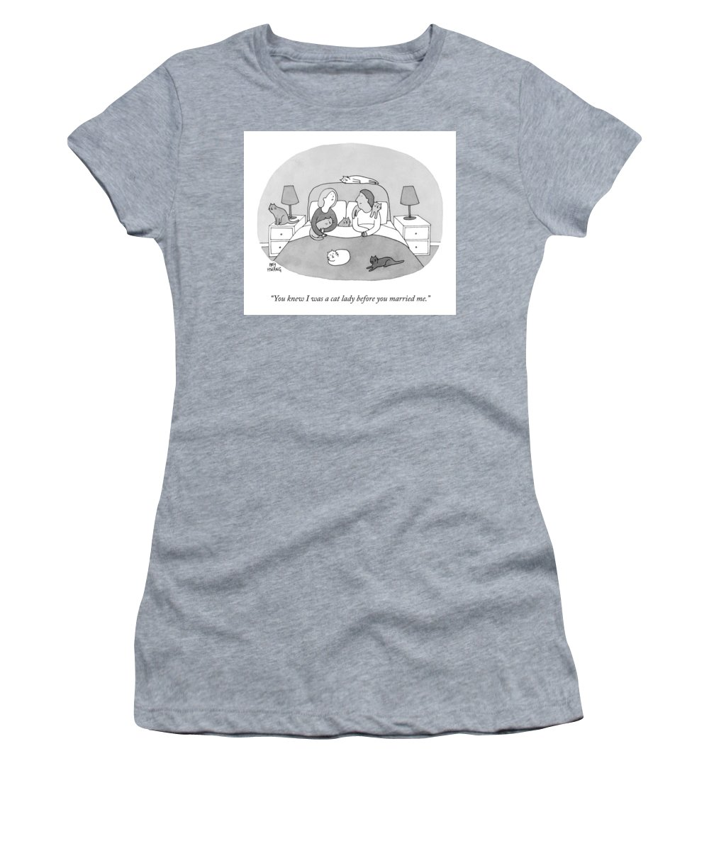 """""""you Knew I Was A Cat Lady Before You Married Me."""" Woman Women's T-Shirt featuring the drawing Cat Lady by Amy Hwang"""