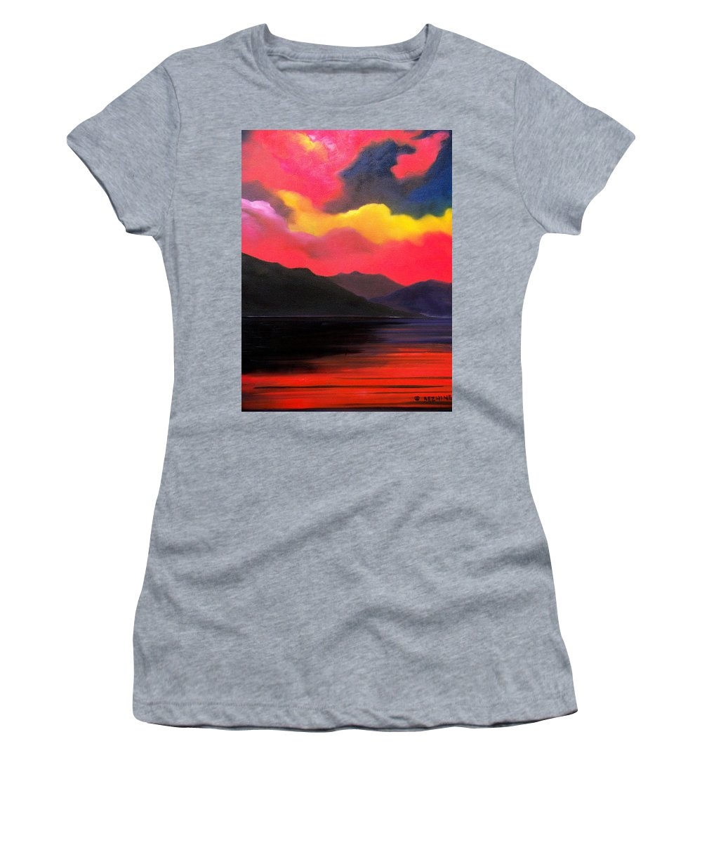 Surreal Women's T-Shirt featuring the painting Crimson clouds by Sergey Bezhinets