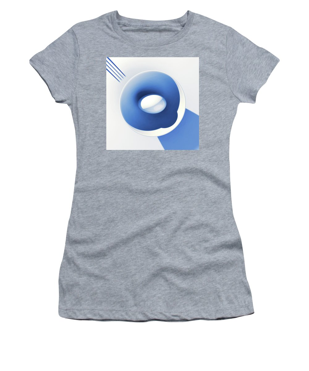 Egg Women's T-Shirt featuring the digital art Egg and Bowl_electric blue after Cesare Onestini by Heike Remy