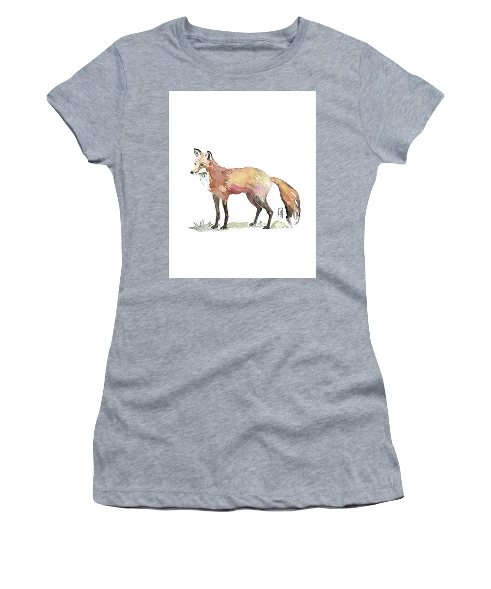 Fox Women's T-Shirt featuring the painting Foxy by Luisa Millicent