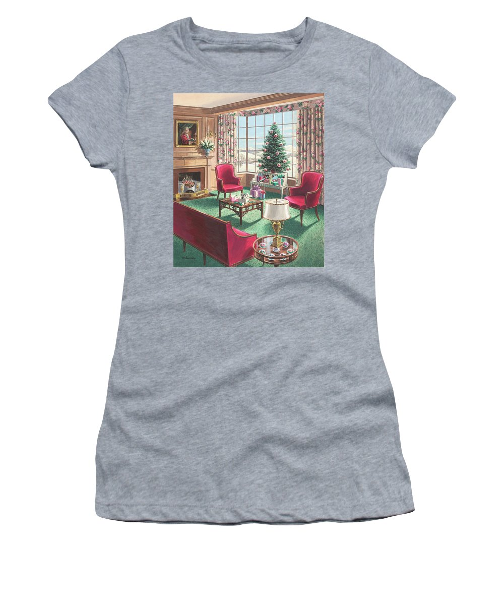 Women's T-Shirt featuring the painting Illustration of a Christmas Living Room Scene by Urban Weis