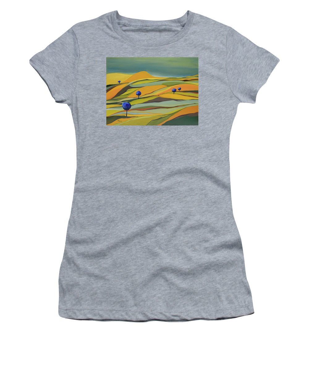 Blue Trees Women's T-Shirt featuring the painting Land of the Blue Trees by Aniko Hencz