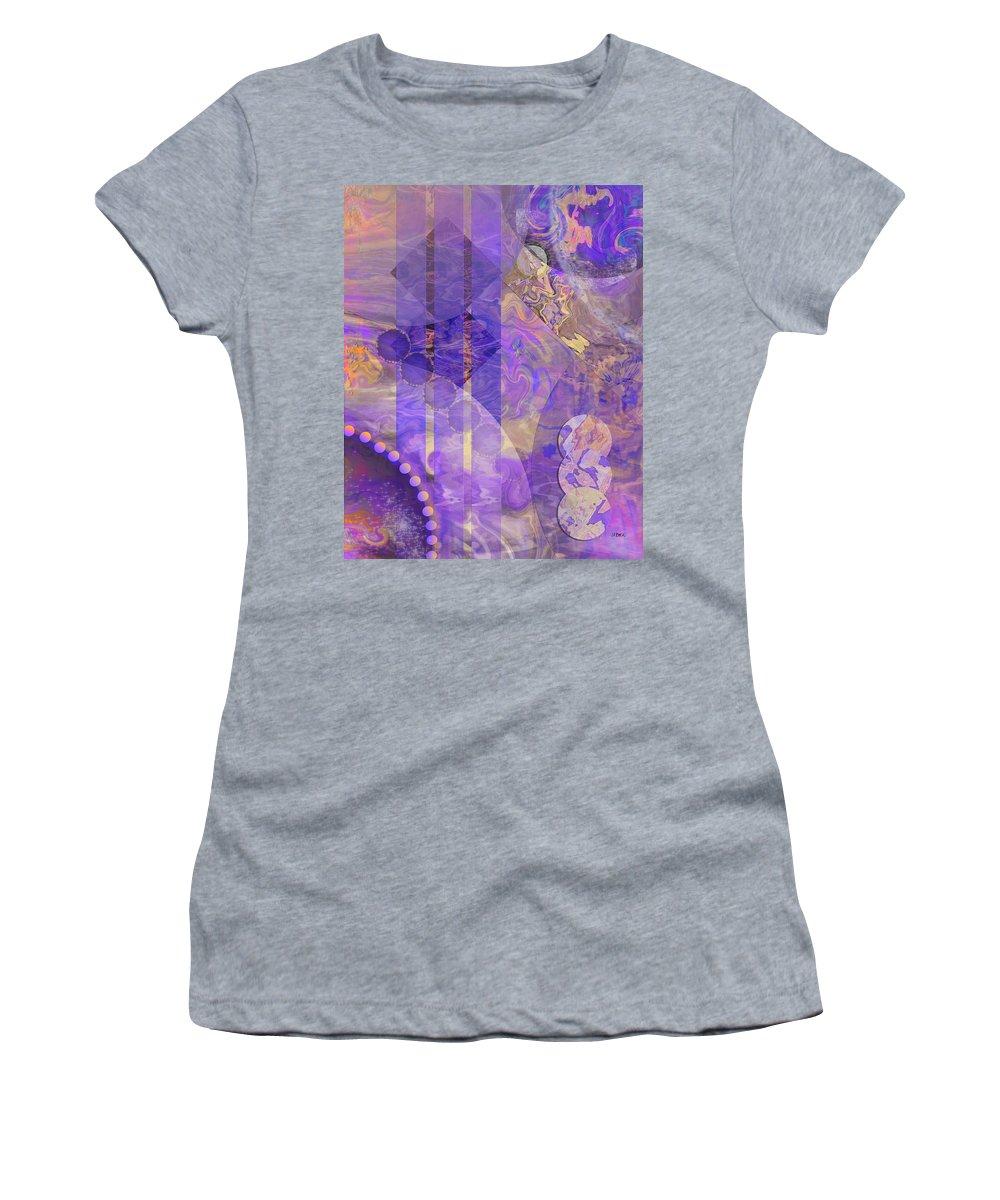 Lunar Impressions 2 Women's T-Shirt featuring the digital art Lunar Impressions 2 by John Robert Beck