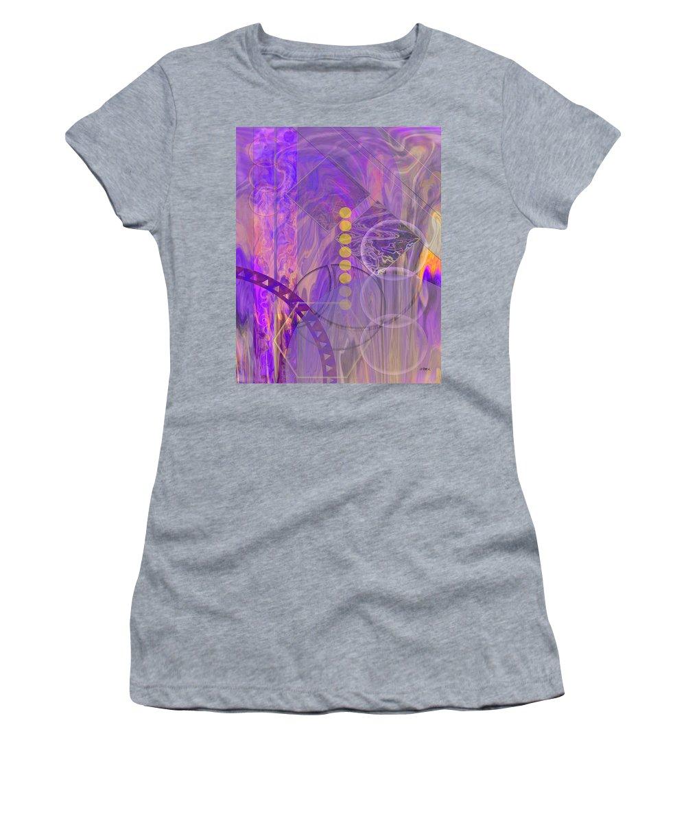 Lunar Impressions 3 Women's T-Shirt featuring the digital art Lunar Impressions 3 by John Robert Beck