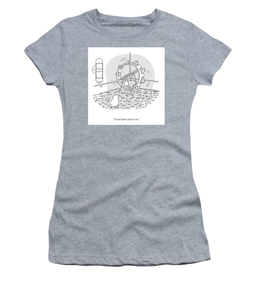 I Have To Listen To Music When I Run. Women's T-Shirt featuring the drawing Music When I Run by Jeremy Nguyen