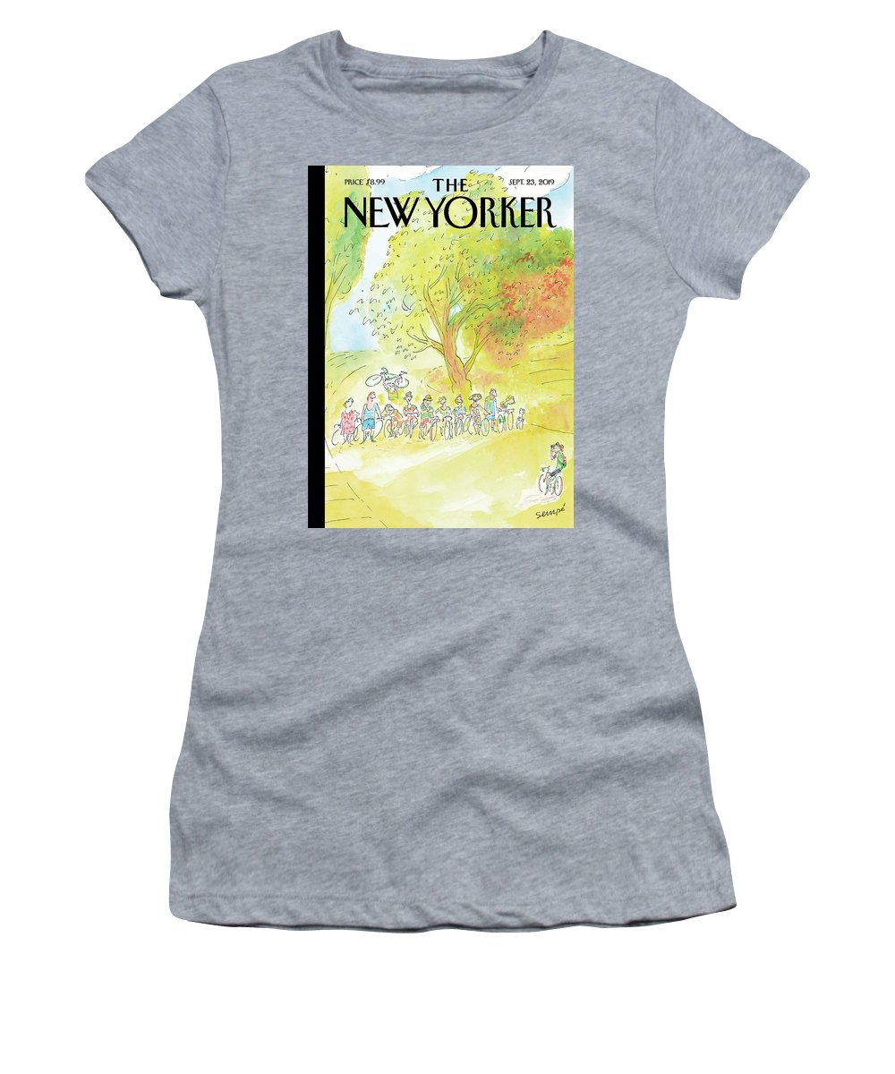 Our Sunday Morning Outings Women's T-Shirt featuring the painting Our Sunday Morning Outings by Jean-Jacques Sempe