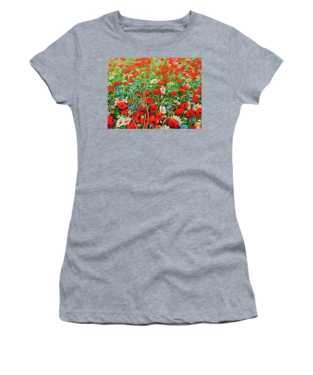 Floral Painting Flower Painting Red Poppies Painting Daisy Painting Field Poppies Painting Field Poppies Floral Flowers Wild Botanical Painting Red Painting Greeting Card Painting Women's T-Shirt featuring the painting Poppies In The Wild by Karin Dawn Kelshall- Best