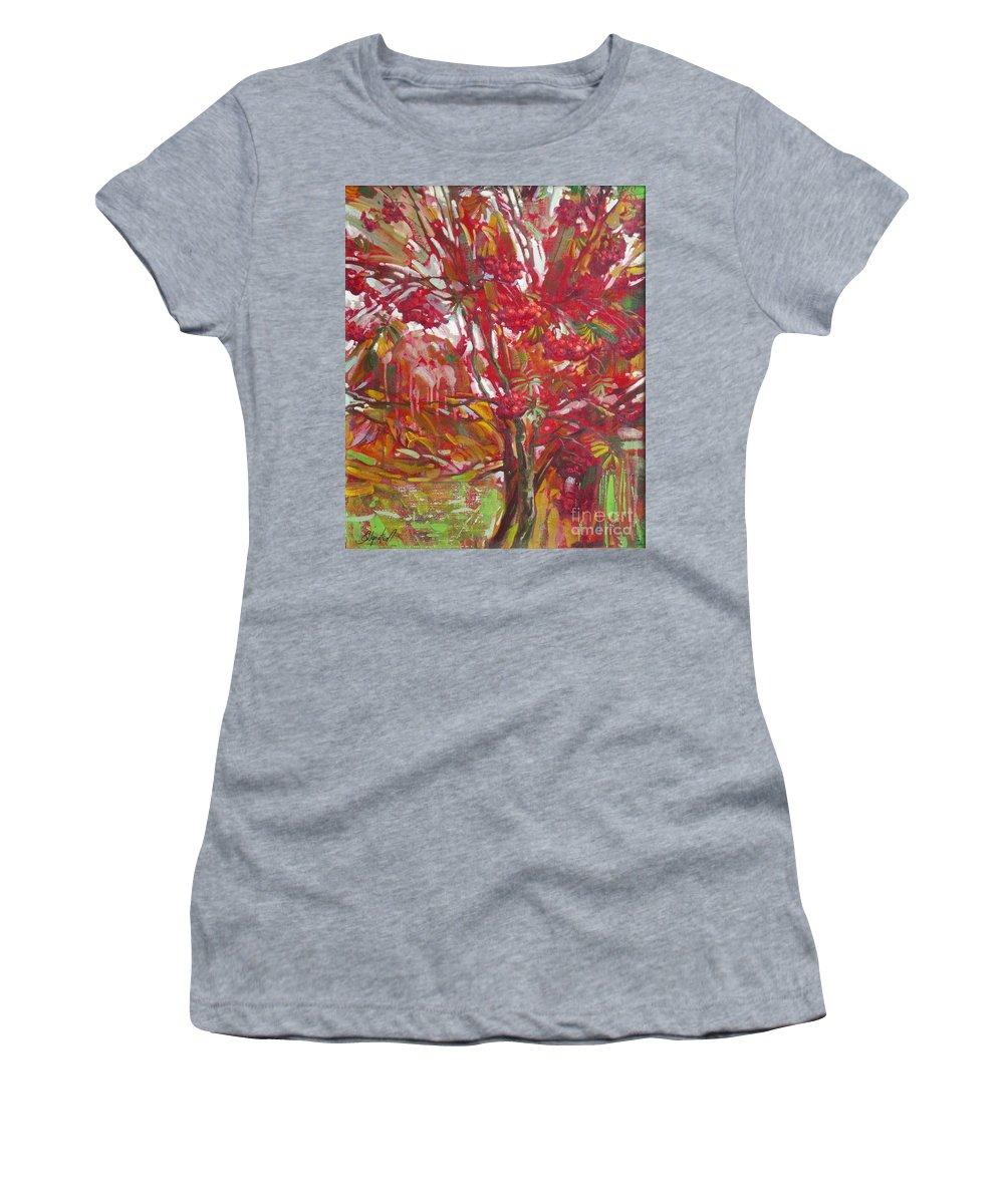 Oil Women's T-Shirt featuring the painting Rowan tree by Sergey Ignatenko