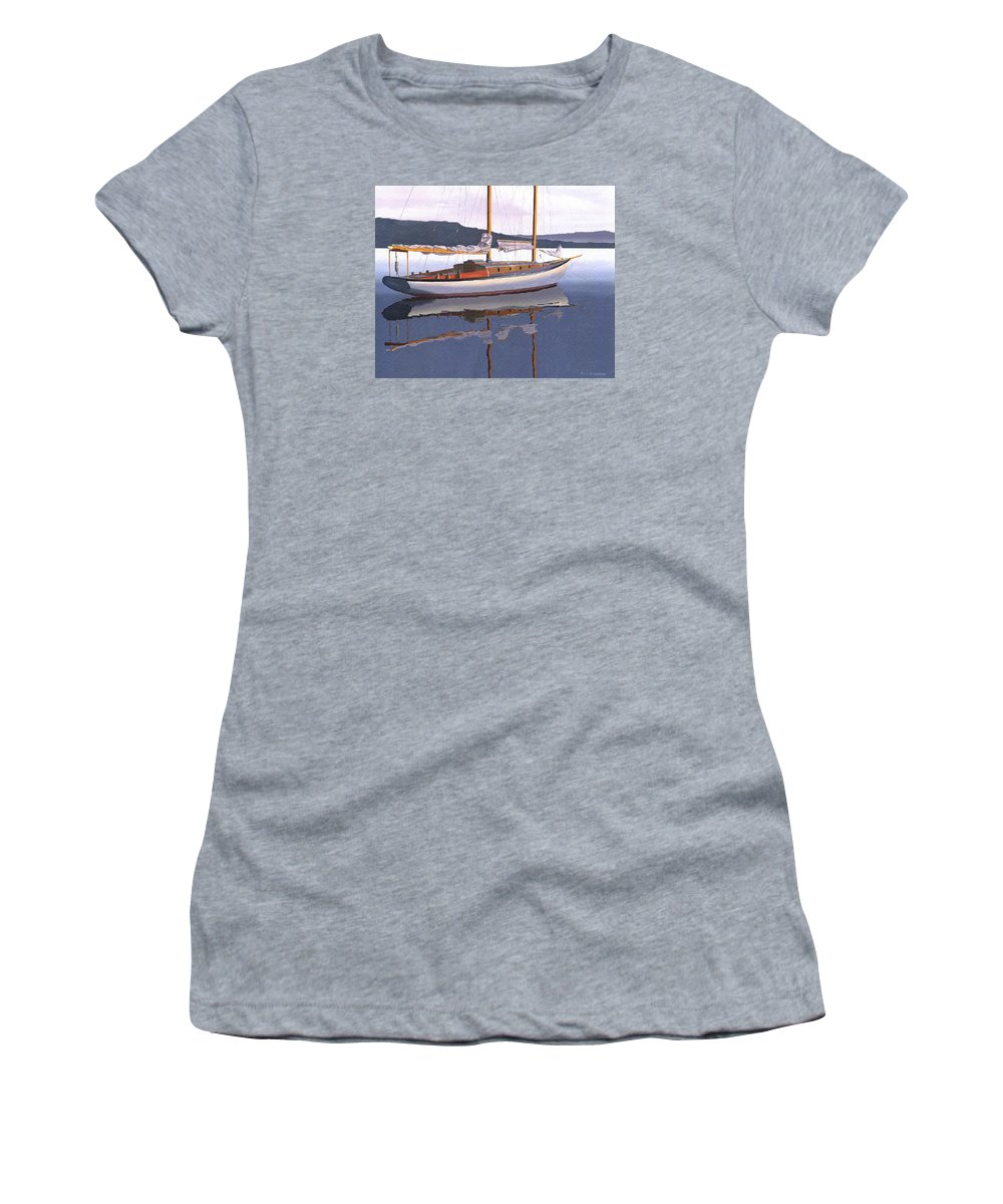 Schooner Women's T-Shirt featuring the painting Schooner at dusk by Gary Giacomelli