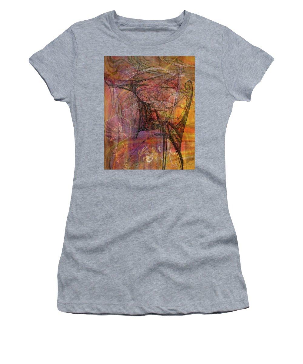 Shadow Dragon Women's T-Shirt featuring the digital art Shadow Dragon by John Robert Beck