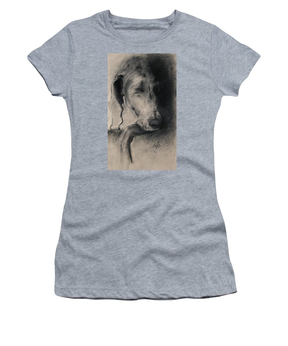 Weimaraner Women's T-Shirt featuring the drawing Silhouette by Cori Solomon
