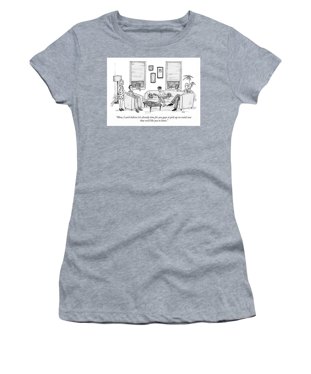 """""""wow Women's T-Shirt featuring the drawing Social Cues by Teresa Burns Parkhurst"""