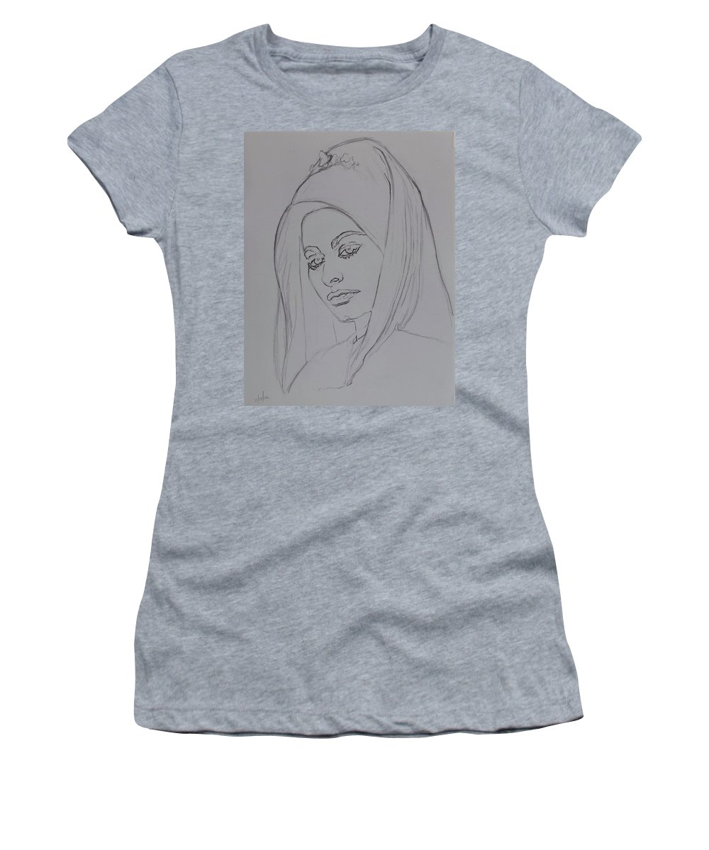 Woman Women's T-Shirt featuring the drawing Sophia Loren In Headdress by Sean Connolly