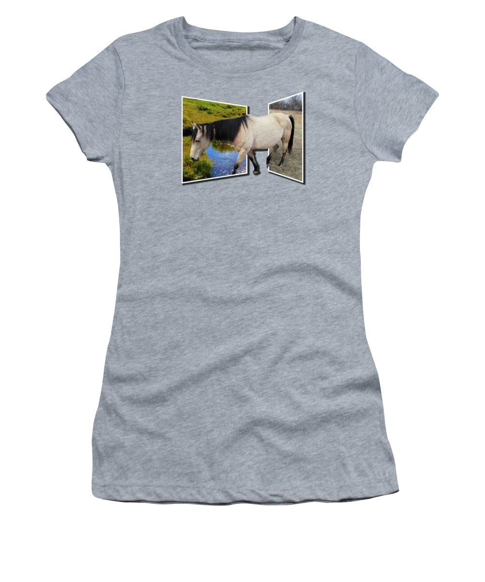 Horse Women's T-Shirt featuring the photograph The Grass Is Always Greener On The Other Side by Shane Bechler