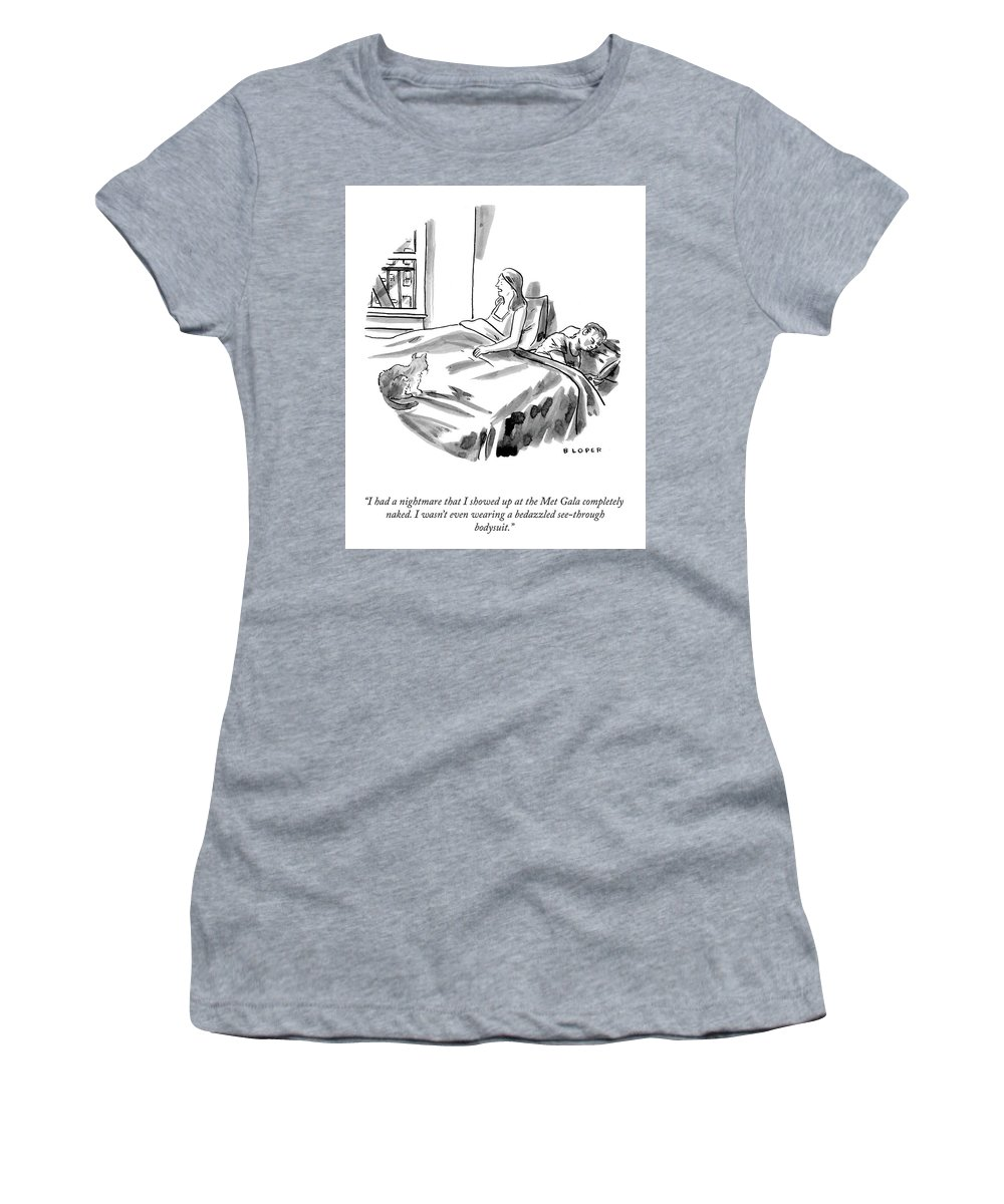 """""""i Had A Nightmare That I Showed Up At The Met Gala Completely Women's T-Shirt featuring the drawing The Met Gala by Brendan Loper"""